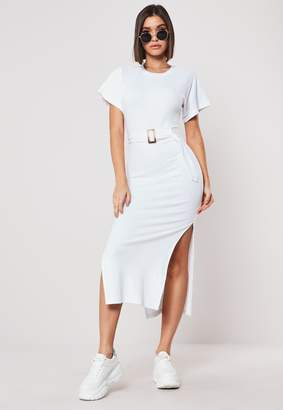 Missguided White Rib Tortoise Shell Belted Midi Dress