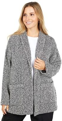 Eileen Fisher Handwoven Peruvian Organic Cotton Shawl Collar Jacket (Soft White/Black) Women's Clothing