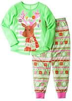 Komar Kids Girls Reindeer with Ornaments 2 Piece Pajama