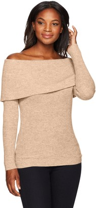 Lark & Ro Amazon Brand Women's 100% Cashmere Soft Slim Fit Off the Shoulder Sweater