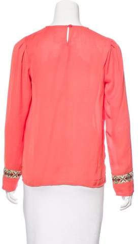 Needle & Thread Jacquard-Trimmed Long Sleeve Top