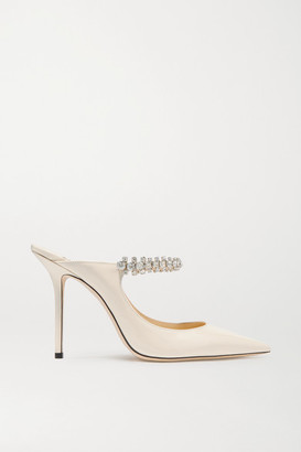 Jimmy Choo Bing 100 Crystal-embellished Patent-leather Mules - Ivory