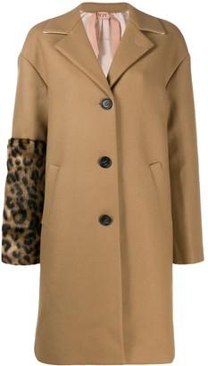 No.21 Leopard Pint Sleeve Detail Coat