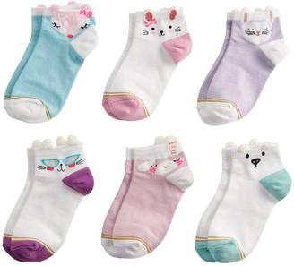 Gold Toe Girls GOLDTOE 6-Pack Fuzzy Face Quarter Socks