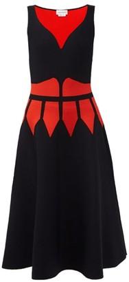 Alexander McQueen Corset-intarsia Midi Dress - Black Multi