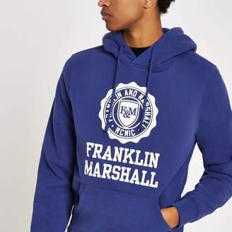 River Island Mens Franklin & Marshall Blue logo print hoodie