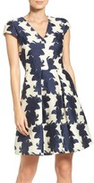 Vince Camuto Petite Women's Floral Organza Fit & Flare Dress