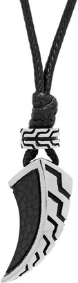 Lynx Men'sStainless Steel & Black Leather Cord Canine Tooth Pendant