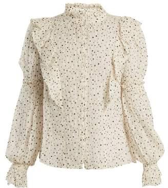 Rebecca Taylor Star-print Silk-blend Blouse - Womens - Cream Multi