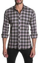 Jared Lang Men's Trim Fit Long Sleeve Plaid Sport Shirt