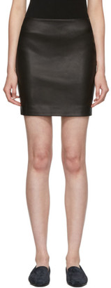 The Row Black Leather Loattan Miniskirt