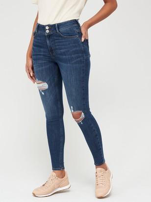 Very Shaping Knee Rip Skinny Jean - Dark Wash