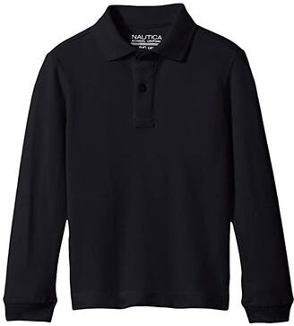 Nautica Long Sleeve Pique Polo (Big Kids) (Navy) Boy's Long Sleeve Pullover