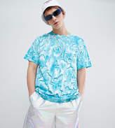 Reclaimed Vintage Inspired Festival T-Shirt With Tye Dye In Blue