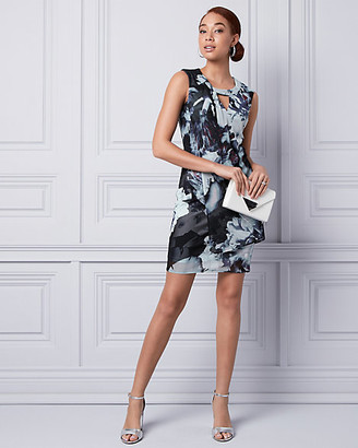 Le Château Floral Print Knit Cutout Dress