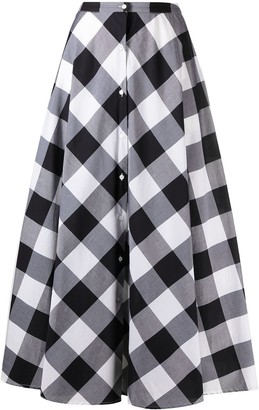 Sara Roka check-print A-line midi skirt