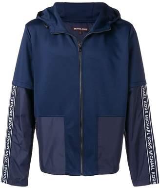 Michael Kors panelled logo trim hoodie