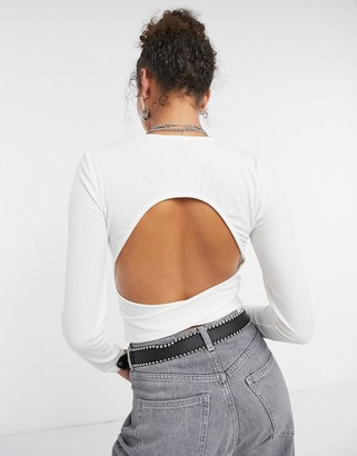 New Look backless ribbed top in white