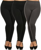 Leggings Mania 2-Pk Plus Size Fleece Lined Thick High Waist Leggings Black Grey