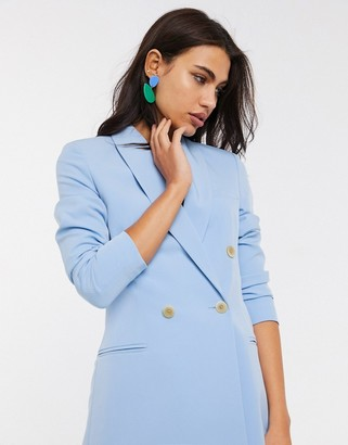 Stradivarius double breasted blazer dress in blue