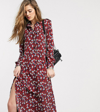 Topshop Tall shirt dress in burgundy