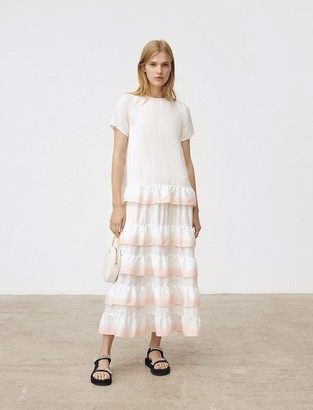 Maje Gradated ombre style ruffled dress