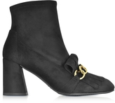 Stuart Weitzman Ringleader Black Ultra Stretch Suede Heel Boots w/Fringes and Golden Chain