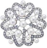 Nina Silver-Tone Crystal and Imitation Pearl Flower Brooch