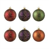 "Sterling 6ct Glittered Earth Tone Shatterproof Christmas Ball Ornaments 3.25"" (80mm)"