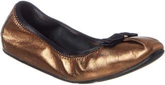Salvatore Ferragamo My Joy Foldaway Metallic Leather Ballet Flat
