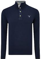 Gant Cotton Sporty Mock Neck Jumper, Blue