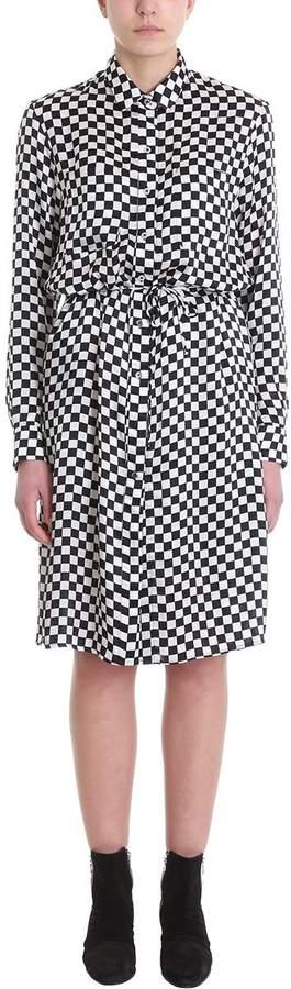 Amiri Long Shirt Dress In Black And White Silk