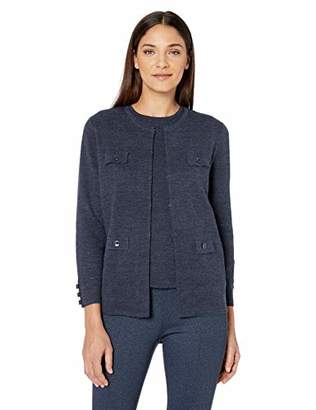 Anne Klein Women's Solid Cardigan with Pocket Flaps
