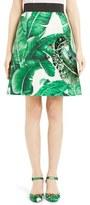 Dolce & Gabbana Sequined Banana Leaf Print Brocade Miniskirt