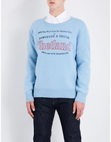 Dries Van Noten Talesprint Shetland-logo Knitted Wool Jumper