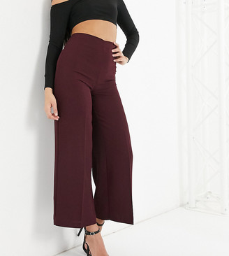 ASOS DESIGN Petite wide leg trousers with clean high waist in claret