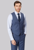 Ted Baker Gold Tailored Fit Blue Sharskin Waistcoat