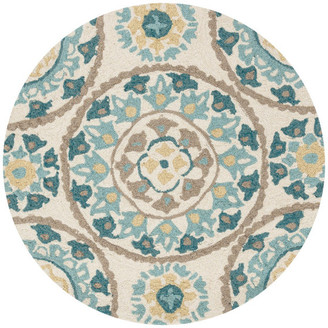 Loloi Rugs Ivory, Blue, Gold, Beige Francesca Area Rug by Loloi, 3' Round