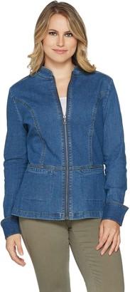 Denim & Co. Stretch Denim Long Sleeve Zip Front Jean Jacket