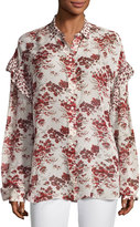 Robert Rodriguez Floral-Print Oversized Chiffon Ruffle Shirt, Beige