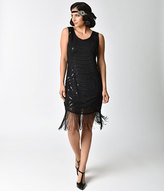 Unique Vintage 1920s Style Solid Black Sequin Beaded Fringe Flapper Dress