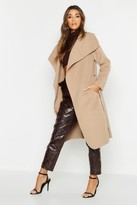Thumbnail for your product : boohoo Belted Shawl Collar Coat