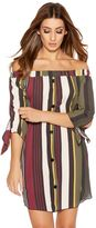 Quiz Khaki Berry And Mustard Stripe Bardot Tunic Dress