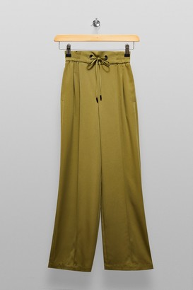 Topshop Womens Tall Olive Wide Leg Jogger Style Trousers - Olive
