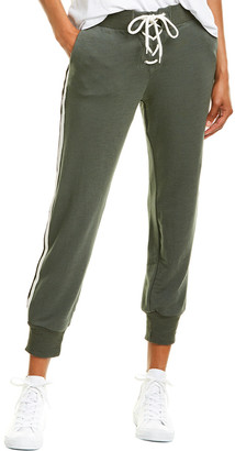 Monrow Lace-Up Striped Sweatpant