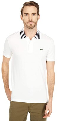 Lacoste Short Sleeve Thin Striped Collar and Graphic Slim (Flour) Men's Clothing