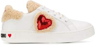 Love Moschino faux-fur heart trainers