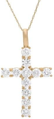 Gioelli Designs Gioelli 10KT Gold 1.98 tcw Round CZ Cross Pendant