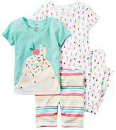 Carter's Baby Girl Graphic Tee, Print Tee, Graphic Shorts & Printed Pants Pajama Set