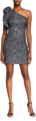 Aidan Mattox Metallic Zebra Ruffle Edge One-Shoulder Mini Dress